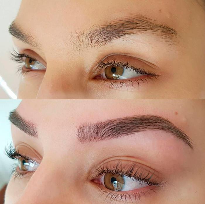 окрашивание бровей хной фото до и после